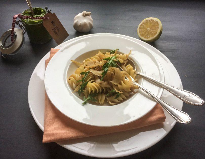 Pasta mit Fenchel Rucola und Zitrone